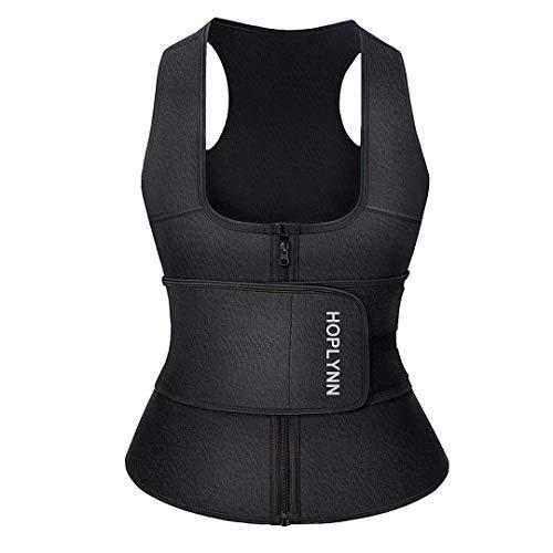 HOPLYNN Waist Trainer Zipper Vest for Women Weight Loss - Neoprene Sauna Tank Top - Waist Cincher Trimmer - Slimming Body Shaper Corset Black Large