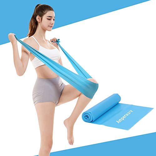 Amperware Resistance Band Sets,Upgrade 150mm Stretching Exercise Fitness Band None Smell Pink Blue Purple Elastic Bands Yoga Gym Body Exercising Straps (Blue, 1.5m,0.35mm Thickness)