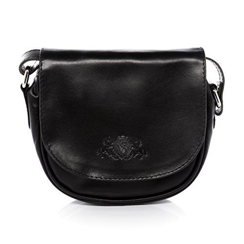 SID & VAIN Umhängetasche echt Leder Brighton klein Crossbody Bag Schultertasche Ledertasche Damen schwarz