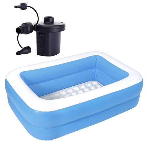 MRG 子供用プール 家庭用 143 × 90 × 36cm 長方形 ビニールプール 子供 プール 深い ベランダ おもちゃ (プール エアポンプセット, ブルー)