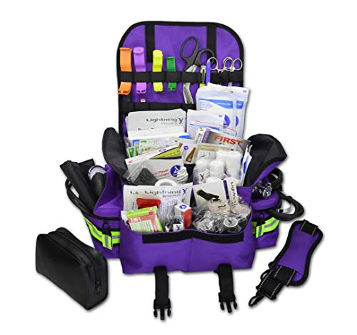 Lightning X Small First Responder EMT EMS Trauma Bag Stocked First Aid Fill Kit B (Purple)