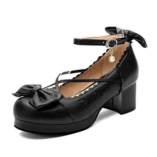 100FIXEO Spring Women Comfort Platform Lolita Shoes Cosplay Chunky Heel Cute Bow Mary Jane Shoes Round Toe Ankle Strap Kawaii Cross-Tied Princess Uniform Shoes (Black, 10.5)