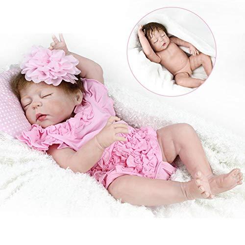 Zaoyun 22 inch / 55 cmSilikon-Babypuppe,Ganzkörper Silikon Reborn Spielzeug Baby realistische Puppe Spielzeug für Kinder mit kurzen lockigen Haaren