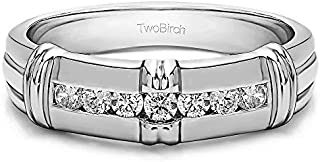 TwoBirch Sterling Silver Channel Set Men's Wedding Ring with Raised Design With Cubic Zirconia (0.31Ct. Size 13)
