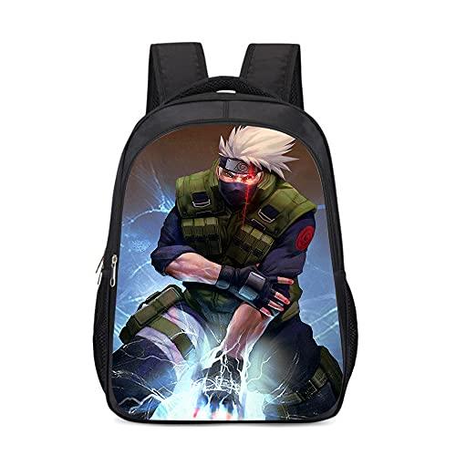 mmkow School bag 3d printing Naruto Flag Kakashi Children's School Backpack Fantasy Riding Bag TV Animation (43x30x13cm) Lightweight