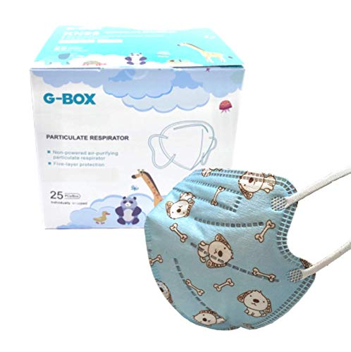 G-Box Children's Non-Powered 5-Ply Particulate Respirator(25-pcs, Individually Wrapped & Sealed) (Blue Puppy)