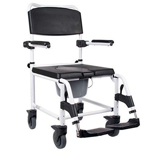 FabaCare Kakadu Toilettenstuhl, fahrbarer Duschstuhl, Toilettenrollstuhl, Rollstuhl mit WC-Eimer, XL, Sitzbreite 55 cm, mit FabaCare Easy To Clean Spezialversiegelung