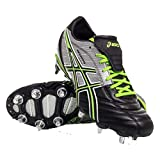 ASICS Chaussures de rugby Lethal Warno 2 pour Homme, Noir/Argent/Vert, 41.5