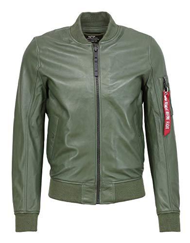 ALPHA INDUSTRIES Herren Lederjacke MA-1 LW II Dark Green, Größe:XXL, Farbe:grün
