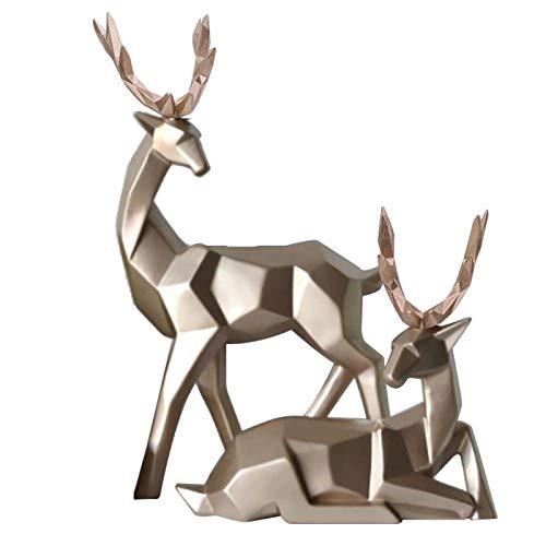 Rodipu Estatua de Ciervo, 2 Piezas de decoración de Ciervo de Resina geométrica, Escultura de Animal, Estatua de Ciervo de Resina para Armario de Mesa(Small Gold)