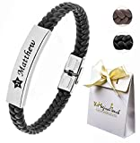 TMT® Personalised Men's Leather Bracelet Adjustable Size For Dad ID Identity Birthday Name Engraved Black/Brown Best Men