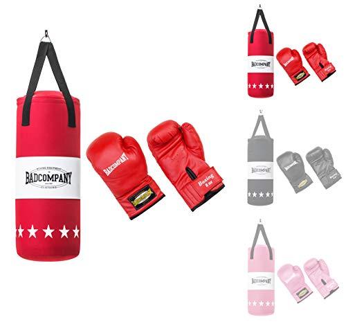 Bad Company Box-Set für Kinder und Jugendliche I Canvas Boxsack, gefüllt - inkl. Aufhängung I 8 OZ Boxhandschuhe I 55 x 25 cm – Rot
