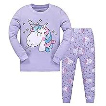 Garsumiss Pijamas para Niña Dos Piezas de Unicornio Manga Larga Invierno Pijama 2-12 Años, Estilo 6, 8 Años