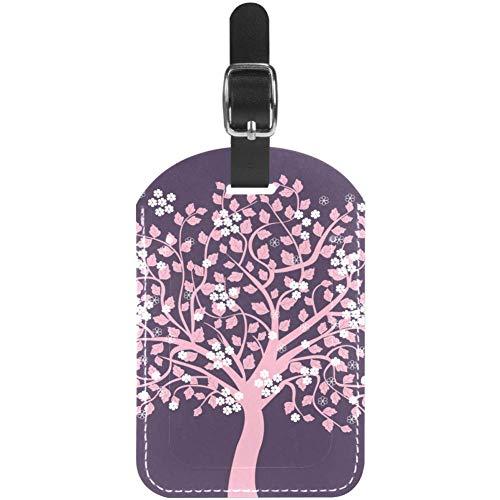 Etiquetas para equipaje de viaje, diseño de árbol rosa con flores y...