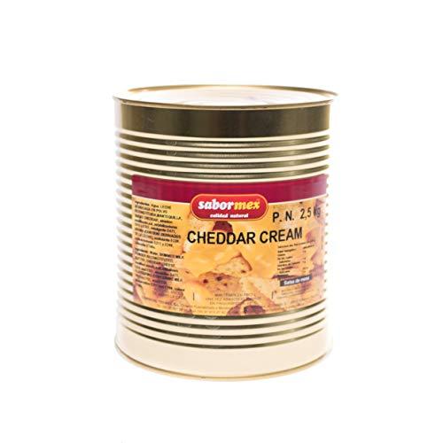 SABORMEX Cheddar Cream 2,5 kg Salsa de Queso Cheddar para Nachos Salsa de Cheddar para Dipear y de Mesa Cremosa Lata Grande de Salsa de Queso Cocina Tradional Mexicana