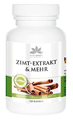 Herbadirekt Cinnamon extract 10-fold concentrated with chromium and zinc, vegan, 120 capsules from Warnke Gesundheitsprodukte GmbH & Co. KG