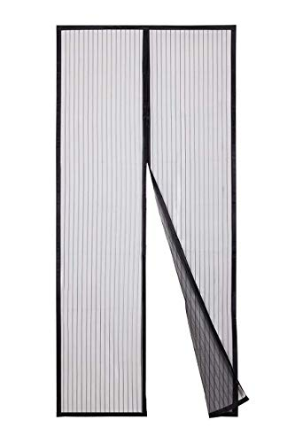 Sekey 220 x 100 cm Zanzariera Magnetica per porta, anti insetti, per legno, ferro, porte in alluminio e balcone, Facile da installare, si Chiude da Sola, nero