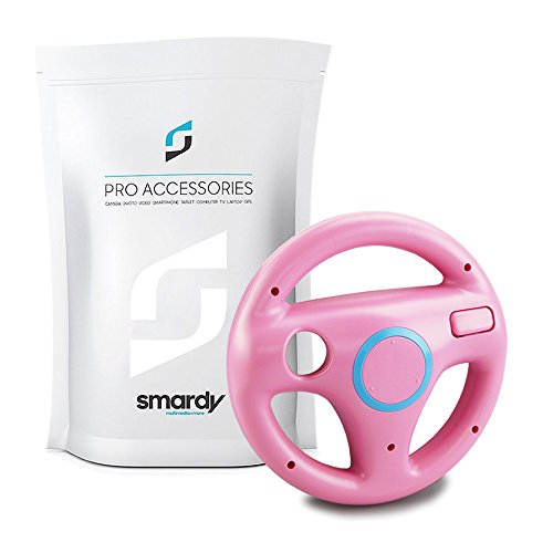 SMARDY Racing Lenkrad Steering Wheel rosa für Nintendo Wii und Wii U Remote