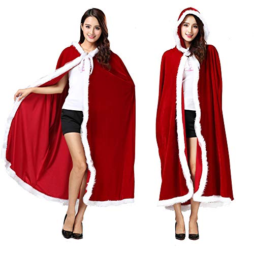 Warmoor Adult Children Christmas Santa Claus Robe, Velvet Red Hooded Cloak, Xmas Party Costume Masquerade Cape (Adult)