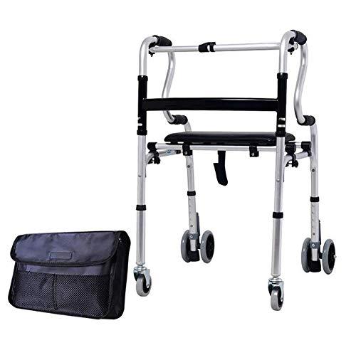 YAMEIJIA Walker voor ouderen, opvouwbare walker, verstelbare loopassistent, 6 wielen, licht en draagbaar, met opbergtas