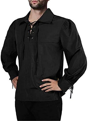 Camisa Escocesa de Hombre Estilo Jacobite Kilt Medieval Manga Larga Disfraz Clasico de Edad Media de Escocia Ropa Vintage Ropa (Negro, M)