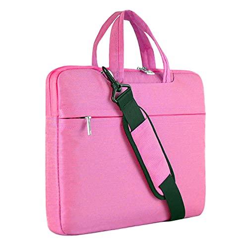 Laptop Shoulder Bag, HESTECH 15.6 Laptop Case Sleeve Business Messenger Briefcase Carrying Handbag for Women Men Fits 15-16 Inch Dell HP Acer Aspire 5/Predator Helios 300 Chromebook Ultrabook,Pink