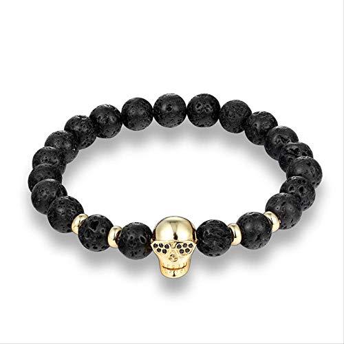 NJSDDB Trendy Natural Beads Strang Armband Micro Pave CZ Sonnenbrille Skeleton Skull Black Lava Stone Energy Herren European Buddha JewelryGold