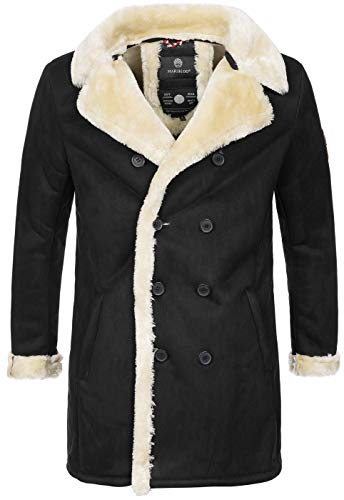 Marikoo warme Designer Herren Winter Jacke Winterjacke lang Wildleder Look B685 [B685-Yasu-Schwarz-Gr.M]