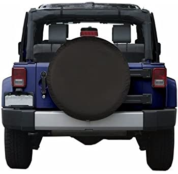 Moonet PVC Thickening Leather Spare Tire Wheel Cover for Car Truck SUV Camper Trailer Universal Fit RV JP FJ,R15 M Bl...