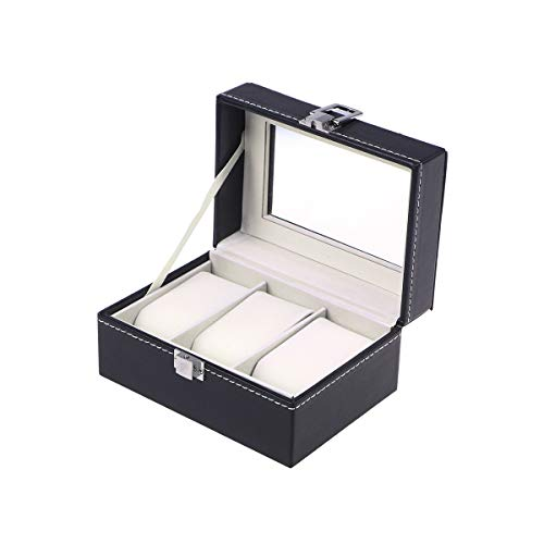 NICERIO Watch Display Box Large 3 Grids Herren Black PU Leder Display Schmuck Gehäuse Organizer Geschenkbox Aufbewahrungsbox mit Schloss und Spiegel