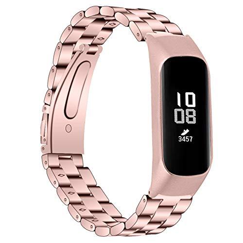 BFISOD Correa de Reloj Compatible con Galaxy Fit E SM-R375, Correa de Reloj Ajustable Pulsera Delgada de Repuesto de Acero Inoxidable con Cierre Plegable para Mujeres y Hombres (Oro Rosa)