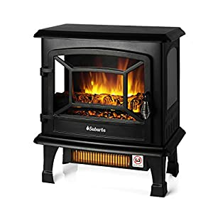 "TURBRO Suburbs TS20 Electric Fireplace Infrared Heater, Freestanding Fireplace Stove with Realistic Dancing Flame Effect - CSA Certified - Overheating Safety Protection - Easy to Assemble - 20"" 1400W"