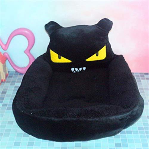 ASDFGT-778 Stich Chinchilla Braunbär Cartoon-Stil Haustier Katze Hund Bett Warme Katze Nest Haustier Bett Hund Matratze Haustierbedarf Hundehäusche Luxusbett (Color : Black Devil, Size : 50x40x15cm)