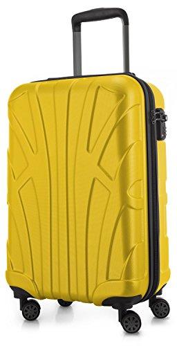 SUITLINE - Valigia per cabina, bagaglio a mano rigido, 4 doppie ruote, TSA, 100% ABS opaco, 55 cm, 34 litri, Giallo