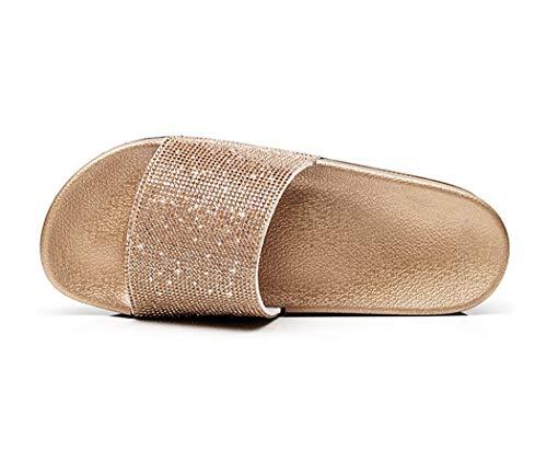 Damen Mädchen Sandalen Sommer Hausschuhe Flip Flops Mode Flache mit Strass Glitzer für Frauen Sommer Flip Flops Casual Strand Sandale Flache Schuhe (EU 39, Golden)