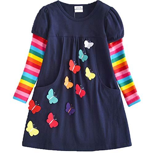 VIKITA Toddler Girls Dresses Long Sleeve Girl Dress for Kids 3-8 Years LH5805, 8T = 7-8Y