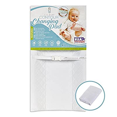 """[Combo Pack]LA Baby Waterproof Contour Changing Pad 32"""" & White Terry Cover - Made in USA. Easy to Clean, Non-Skid Bottom, Safety Strap, Fits All Standard Changing Tables for Best Diaper Change"""