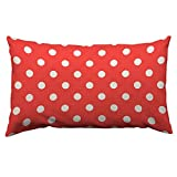 HOSNYE Red White Polka dot Throw Pillow Cover Wave Point Seamless Pattern Background Linen Fabric for Couch Bed Sofa Car Waist Cushion Cover 12 x 20 inch Pillow Case