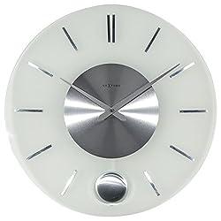 NEXTIME Unek Goods Stripe Pendulum Round Wall Clock, Battery Operated