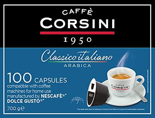 Corsini Caffè - Classico Italiano Miscela di Caffè in Capsule Compatibili Nescafè DolceGusto, Gusto Arabica Cremoso - Confezione da 100 capsule