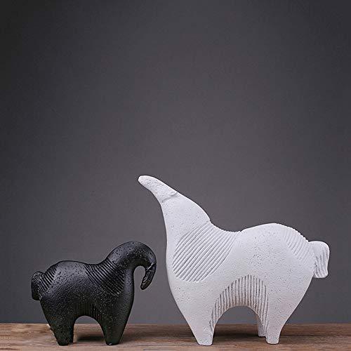 DAMAI STORE Resin Handwerk Kreative Geschenke Ornamente Abstrakter Schwarz-weißes Pferd Nordic Home-Accessoires Großhandel