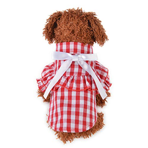 YWLINK Haustier Hunde Katze Sommer Kariertes RüSchen Hemdkleid Atmungsaktive Bogen Prinzessin Shirt Retro Elegant Party Kleidung (Rot,S)