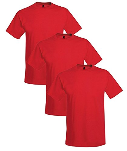 Hanes Men's 3 Pack Comfortblend Short Sleeve T-Shirt, 2XL, Deep Red