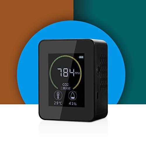 iLieber co2 messgerät mit Temperatur&Feuchtigkeits, co2 kohlendioxid detektor Fuer mit Akku Tragbarer Gaskonzentration Inhalt Farbbildschirm TFT USB-Lithium-Batterie-Ladung