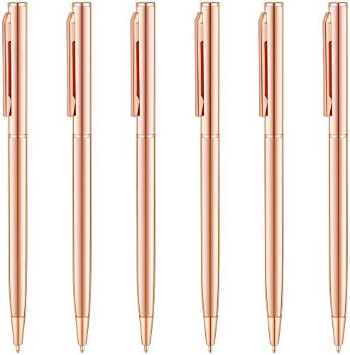Unibene Slim Metallic Retractable Ballpoint Pens Rose Gold Nice Gift for Uniform Office Students product image
