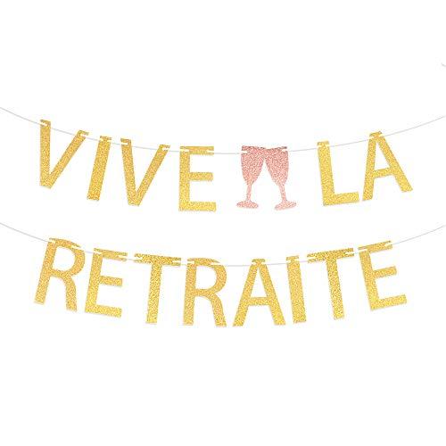 VINFUTUR Vive la Retraite Bannière Guirlande Or pour Fournitures de Décorations de Fête Retirement
