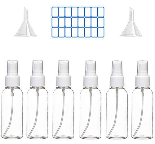 Boic Bote Botellas Spray Vacía De Plástico Transparentes Contenedor de Pulverizador, atomizador recargable de perfume con embudos, Niebla Fina Atomizador de Viaje Conjunto de Botellas (6 * 100
