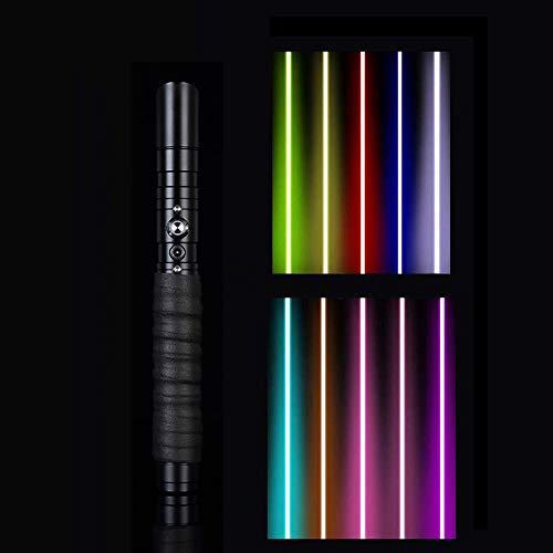 QSSCZZ Star Wars SABLES DE Lights, LED Lighting Saber FX Spay FORMENTE Duel, Saber DE LOS Saber DE Metal Recargable de 16 Colores, Juguete de rol para Adultos y niños,Black Handle