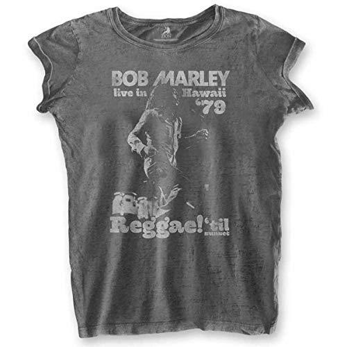Ladies Bob Marley Hawaii Burnout Oficial Camiseta Mujeres señoras (Small)