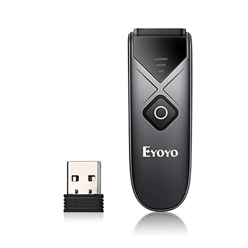 Eyoyo Mini Portable 1D Bluetooth Barcode Scanner, 3-in-1 2.4G Wireless & Bluetooth & USB Wired Barcode Reader ISBN Code 128 Bar Code Scanning Work with Windows, Android, iOS, Tablets or Computers